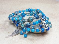 Blue Beaded Bracelet Memory Wire Bracelet Angel by TreasuredSweets