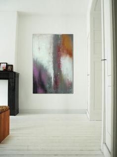 Large Abstract Schilderij  Purple Grey  Acrylic door RonaldHunter, $299.00