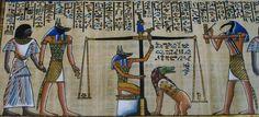 Scène montrant le rituel de la pesée du cœur - Livre des morts égyptien.