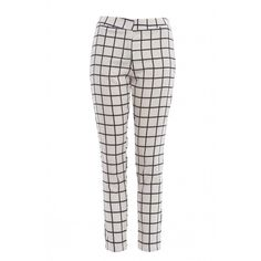 AX Paris Checked Tailored Trousers ($19) ❤ liked on Polyvore featuring pants, bottoms, trousers, tailored trousers, white trousers, checked pants, ax paris and checkered pants