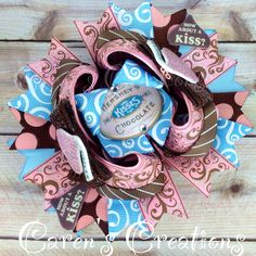 Vintage Hershey Kisses stacked boutique bow, chocolate, chocolate kisses, hair bow, bow, over the top, vintage