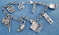 Computer Geek Techie Jewelry Silver Charm Bracelet Laptop Mouse TV Desktop Remote Gamers