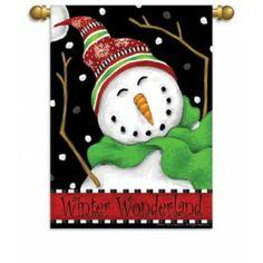"Flags A' Flying ""Winter Wonderland"" Printed Seasonal Banner; Polyester 28""x40"" - Seasonal Banners - Winter"