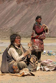 Pelgrims bij Mount Kailash.