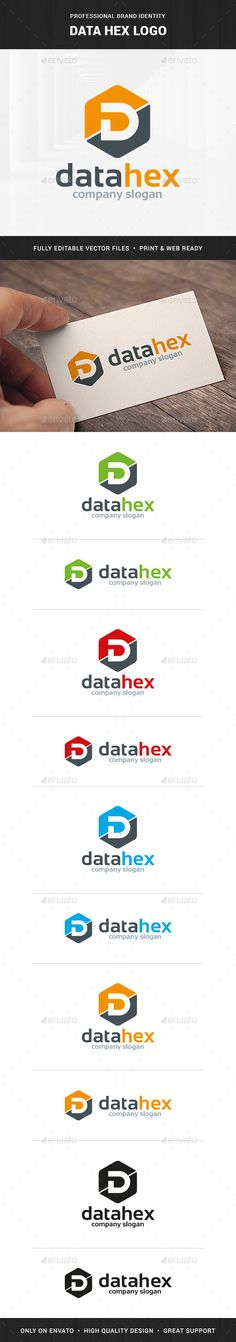Data Hex - Letter D Logo