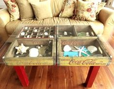 Use old wooden crates to make a display table for collections.