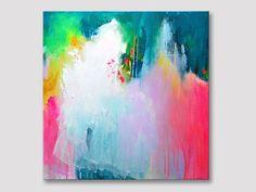 Titel: Bruids boeket  Originele kunst Acryl schilderij op gespannen doek.  +++++++++++++++++++++++++++++++++++++++++++++  GESPANNEN op houten FRAME & klaar te hangen  +++++++++++++++++++++++++++++++++++++++++++++  AFMETINGEN: 50 cm x 50 cm (20 inch x 20 inch), het doek is 0,7 inch diep.  Een duidelijk glanzende coating heeft is aangebracht op het oppervlak ter bescherming van het schilderij van UV-licht, vocht en stof. Nietjes zijn op de achterkant en de randen zijn geschilderd met een co...