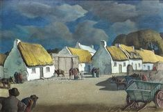 Artwork by Harry Epworth Allen, Claddagh Cottages, Made of Tempera on board