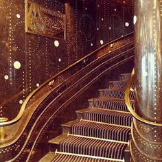 midcenturyfurniture Le Restaurant Prunier  #artdeco #stairs metal #marble #circles #brass