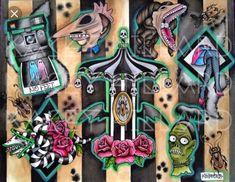 Beetlejuice Inspired Tattoo Flash Print by AMurderOfKrows on Etsy Girly Tattoos, Life Tattoos, Body Art Tattoos, Key Tattoos, Skull Tattoos, Sleeve Tattoos, Beetlejuice Tattoo, Beetlejuice Halloween, Tatoo