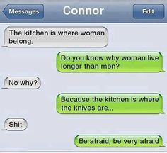 Girls in the kitchen and why they live longer than men.