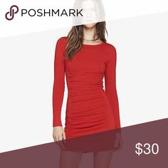 Express Ruched Red Sweater Dress Express Ruched Red Sweater Dress. Worn once Express Dresses Mini