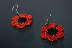 Beaded earrings in the shape of poppy flowers by ShinyBeadsStore