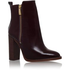 Denning Kurt Geiger London Wine ($295) ❤ liked on Polyvore featuring shoes, boots, ankle booties, wine, ankle boots, leather boots, short leather boots, high heel leather boots and high heel ankle booties