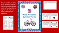 $ Are you tired of creating word problems? Check out this summer themed word problem packet for 1st grade!