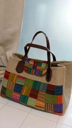 Tutorial: Patchwork Shopping Bag. Retalhos Saco, instruções de costura
