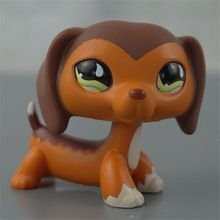 pet shop LPS Dachshund #665 Rare Style Sausage Dog Kids Toy Brown Body With Green Eyes(China (Mainland))