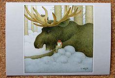 Helje Artpostcard Gnome and Moose Elk Tomte Nisse Santa Sweden Free Shipping   eBay