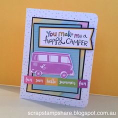 This card was created by Denise Tarlinton, CTMH Manager. using the fabulous new Stamp of the Month, The Long Way Home. The stamp set features a wonderful selection of fun vehicles and funky signs, icons and sentiments. Use the stamps to create your own tr