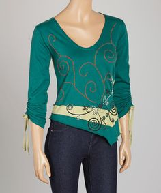 This Green & Blue Embroidered Scoop Neck Top is perfect! #zulilyfinds