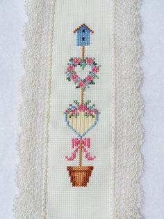 Cross Stitch Bookmark  Floral Topiary Heart by WitsEndDesign, $15.00