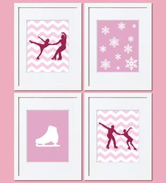 Figure skating art prints by TalkingPictures. Perfect for girl's room or baby girl nursery. Custom size and colors.