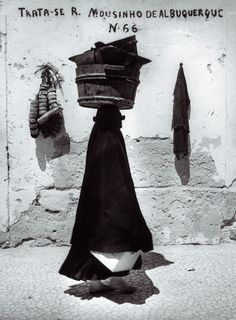 Portuguese silhouette, Nazaré, Portugal, 1954