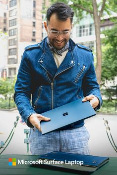 Cobalt Blue looks good on you. Complete the look with a laptop that travels, for work and for play on-the-go; Surface Laptop.
