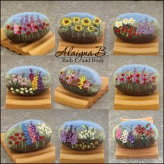 I really enjoy making felted soap and needle felting a variety of designs on them. These floral landscape soaps have been extremely popul...