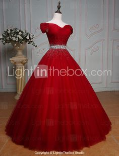 Formal Evening Dress Ball Gown Off-the-shoulder Floor-length Tulle with Beading / Crystal Detailing / Sequins 2017 - $169.99
