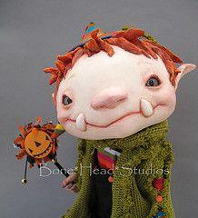 Goblin, Flora Thompson Love this guy! Whimsical Halloween, Halloween Doll, Whimsical Art, Dragons, Magical Creatures, Soft Sculpture, Clay Creations, Goblin, Beautiful Dolls