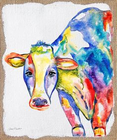 Colorful Cow-jp2487 Print By Jean Plout