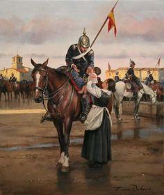 La despedida, cortesía del maestro Ferrer-Dalmau. Soldado del Regimiento Farnesio, 5º de Lanceros, se despide de su hijo antes de partir a la Guerra de África (1859) http://www.elgrancapitan.org/foro/viewtopic.php?f=21&t=11680&p=894052#p893851