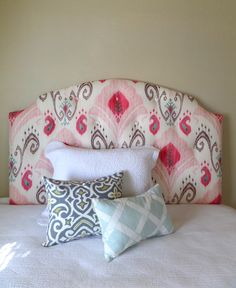 Pink, gray, white ikat tufted upholstered headboard, custom wall mounted