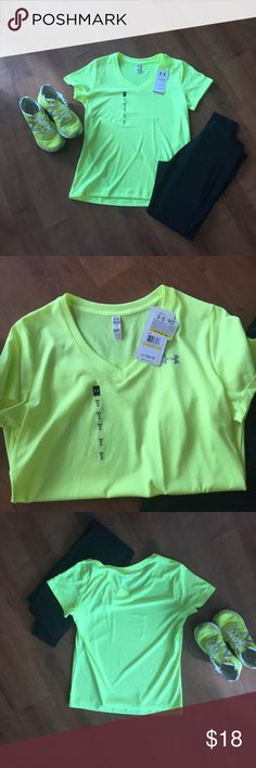NWT - Electric Yellow UA Heat Gear V-Neck Shirt NWT - Electric Yellow UA Heat Gear V-Neck Shirt. Lighting in 2nd pic shows color best. No trades. Non-smoking house. PM only for your protection and mine😊 Under Armour Tops Tees - Short Sleeve