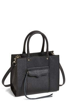 $195, Black Leather Tote Bag: Mab Mini Leather Tote Black by Rebecca Minkoff. Sold by Nordstrom. Click for more info: http://lookastic.com/women/shop_items/138166/redirect