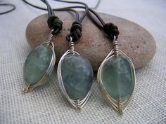 Wire Wrapped Fluorite & Leather Slide Necklace  - Wire Jewelry. $35.00, via Etsy.