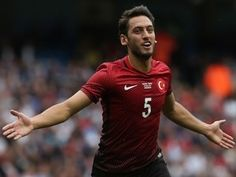 Turkey's striker Hakan Calhanoglu celebrates scoring his team's first goal during the friendly football match between England and Turkey at the Etihad Stadium in Manchester, north west England, on May / AFP / Scott Heppell / NOT Chelsea Football, Chelsea Fc, Football Match, Football Players, Tottenham Hotspur Football, Free Kick, Latest Sports News, Arsenal Fc, Ac Milan