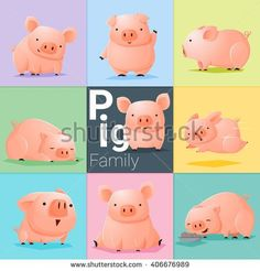 Set of Pig family , vector , illustration Free Vector Images, Vector Free, Pig Family, Family Vector, Pig Illustration, Pig Art, This Little Piggy, Hello Autumn, Piglets
