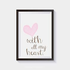 Pink heart nursery with all my heart print.  Browse our full collection here: https://www.etsy.com/ca/shop/artRuss  PRINTS • My prints are printed