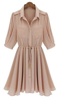 Pink Half Sleeve Drawstring Buttons Chiffon Dress