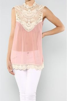 Lace Neck Chiffon Blush Top. Those great leather boots and white leggings with a great JAcket would make this incredible!!!