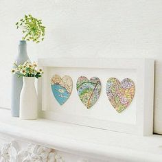 DIY Wall Art: DIY Ombre Heart Maps - His and her birth place, and in middle where they met. Diy Ombre, Diy Wall Art, Home Decor Wall Art, Diy Home Decor, Map Wall Decor, Decor Room, Decor Crafts, Diy Wand, Mur Diy