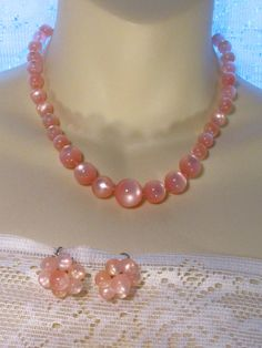 Vintage 1950's pink moon glow beads beaded necklace earrings set by jewelry715 on Etsy https://www.etsy.com/listing/214816275/vintage-1950s-pink-moon-glow-beads