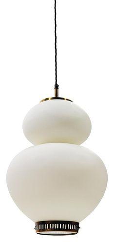 """Bengt KARLBY (Né en 1912) & LYFA (Éditeur) Suspension """"China"""", à structure bilobée en opaline blanche, base formant galerie circulaire en laiton, virole et hampe supérieures en laiton. Haut. 52cm A """"China"""" hanging light, brass base, white opaline structure. Height. 20 1/2 in. <br />  <br />  <br />"""