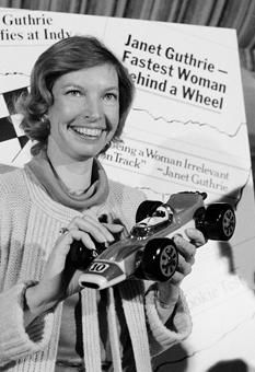 Janet Guthrie, the first woman to qualify for the Indianapolis 500 in 1977, at a news conference in New York City in 1978.