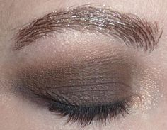 Matt, brown smokey eyes with glittering brows