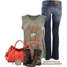 """Rebel Republic USA Midnight Rider Cut Off Tank"" by fluffof5 on Polyvore"
