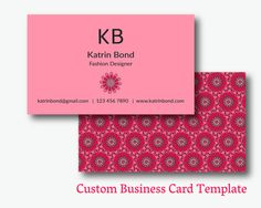Business Card Template, Calling Cards, Custom Business Cards, Unique Business Card Template, Business Card Design, Pink Business Card