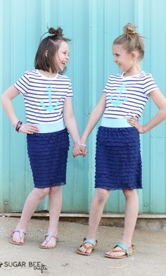 DIY Anchor Stenciled Shirts (and 5 Minute Skirts) - Sugar Bee Crafts Clothes Crafts, Sewing Clothes, Diy Clothing, Clothing Patterns, Anchor Stencil, Sewing Tutorials, Sewing Projects, Anchor Shirts, Bee Crafts